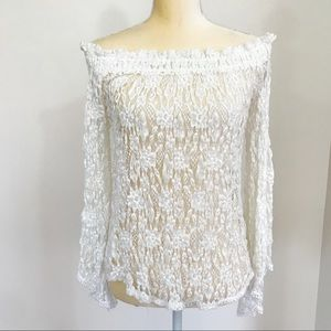 A & F Boho Flowy Lace Off the Shoulder Top